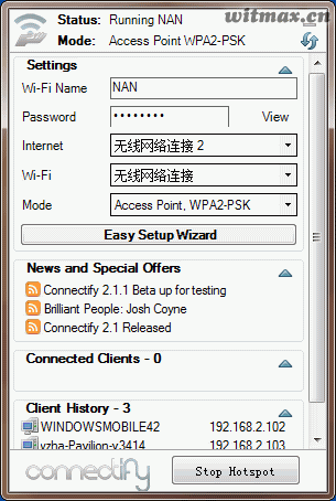 Connectify界面