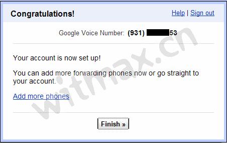 Google Voice 注册成功界面