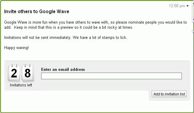 Google Wave 邀请名额