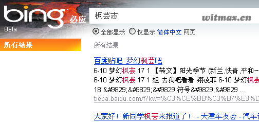 枫芸志在Bing的搜索结果