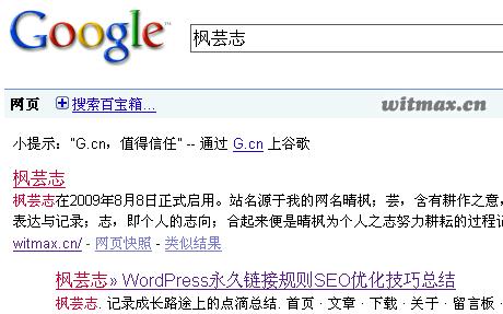 枫芸志在Google的搜索结果