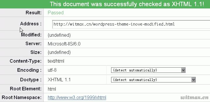 修改后的XHTML验证结果